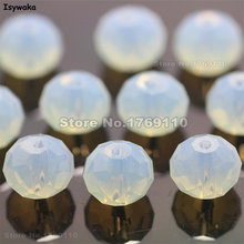 Isywaka Milky White Color 6*8mm 72pcs Rondelle Austria faceted Crystal Glass Bead Loose Spacer Round Bead for Jewelry Making(China)