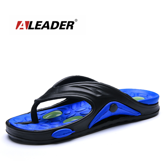 701c9e6fb2250f ALEADER Summer Mens Flip Flops Cushion Insole Beach Shoes Massage Soft  Walking Rubber Flip Flops Causal Shower Water Slippers