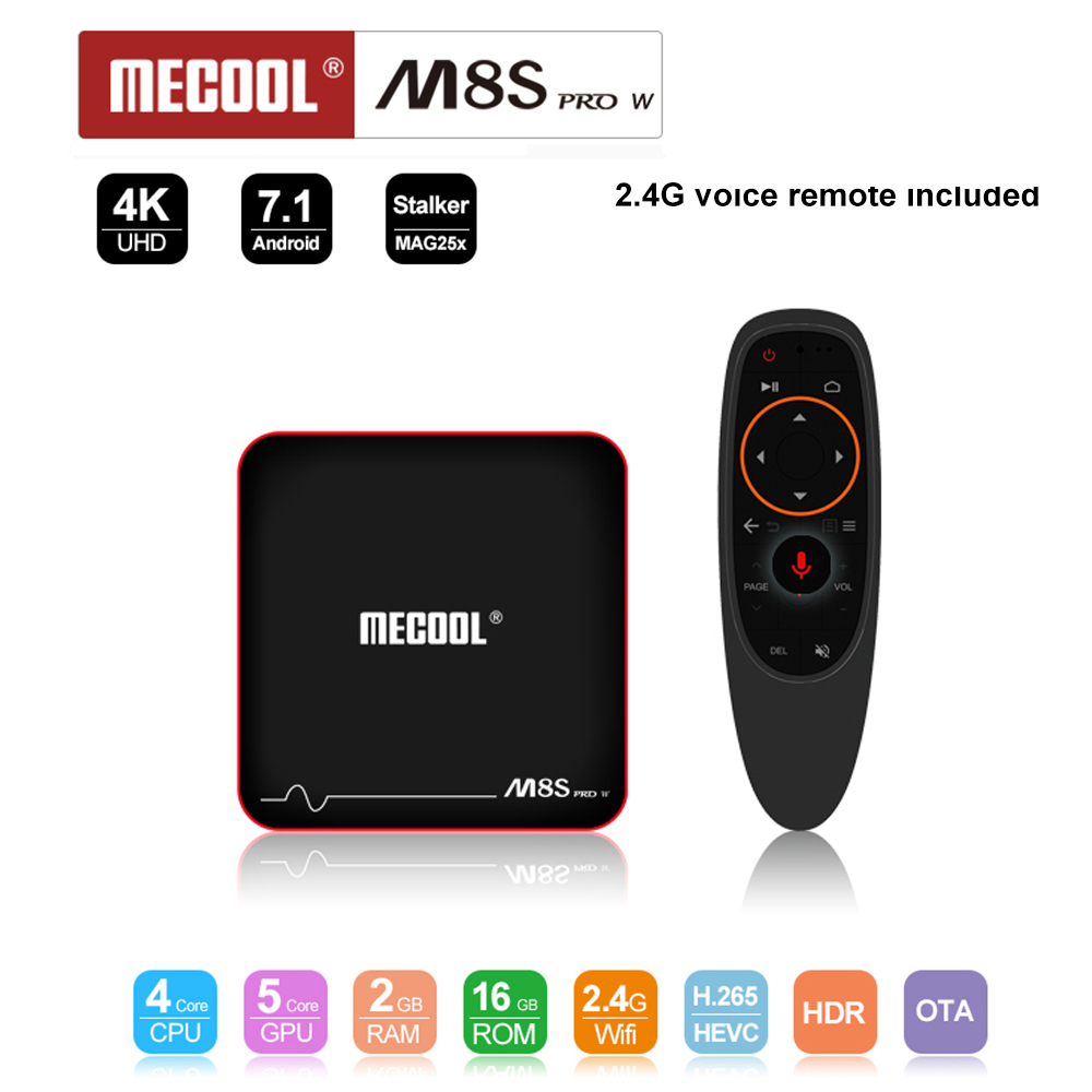 цена на Mecool M8S PRO W ATV tv box android7.1 2gb 16gb Amlogic S905W Quad Core WiFi 4K H.265 Set Top Box with voice 2.4G remote control