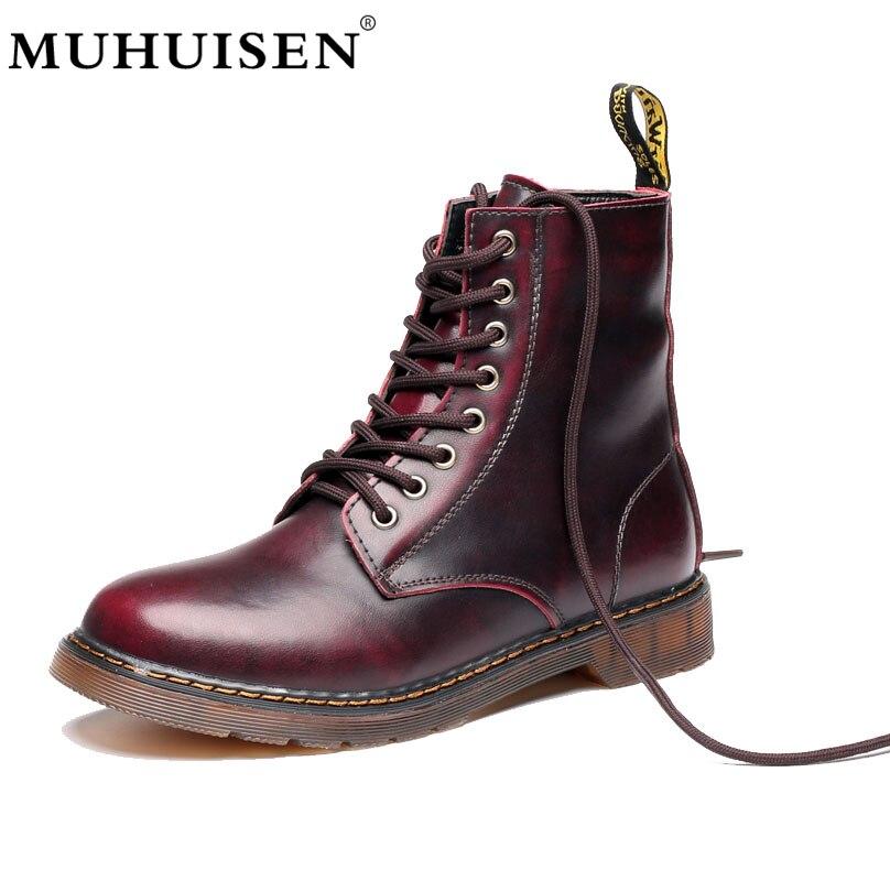 MUHUISEN Autumn Winter Men Boots Big Size 35-47 Vintage Style Men Shoes Casual Fashion High-Cut Lace-up Warm Boots