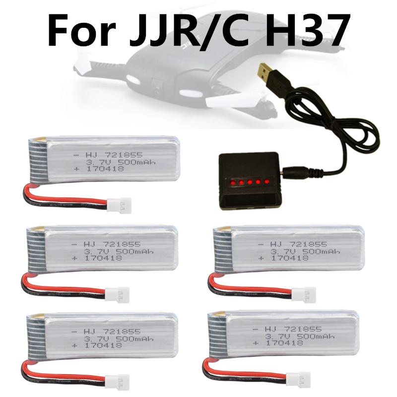Lipo Batterie 3.7 v 500 mAh pour E50 JJRC H37 ELFIE Drone RC Dron RC Hélicoptère Li-Batterie Bateria + 5in1 Chargeur Pièces De Rechange Partie