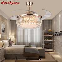 Golden ceiling fans with remote control for living room crystal lighting fan bedroom led ceiling light fan kitchen fan with lamp