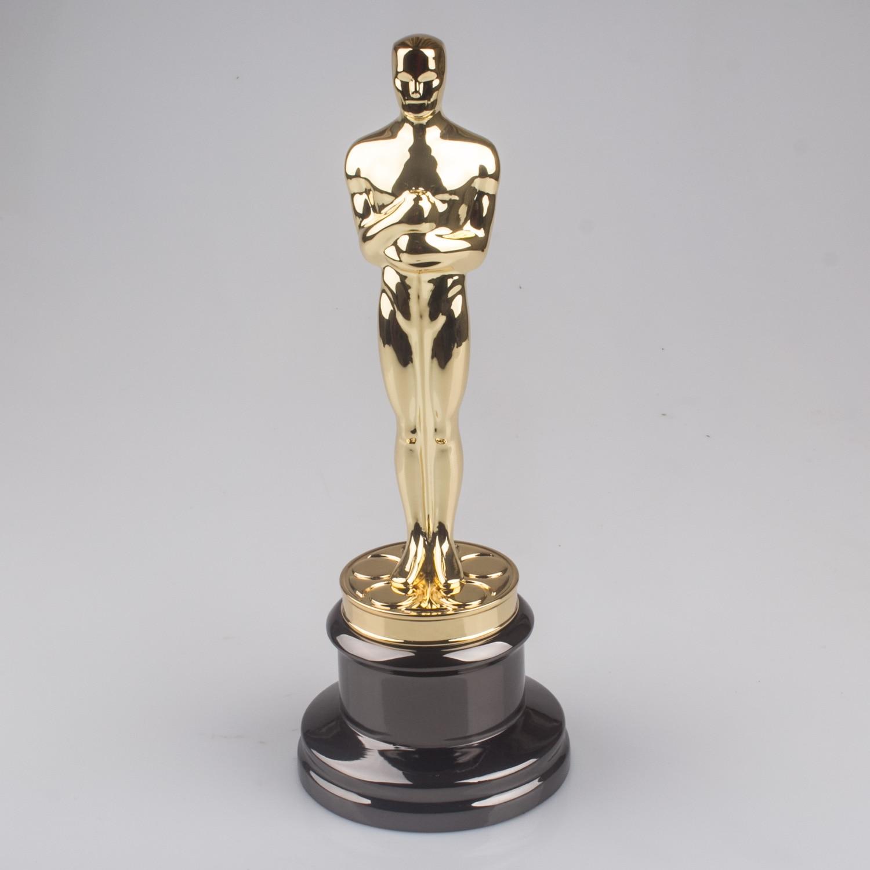 34cm Oscars Golden Statuettes Trophy Replica Gold Zinc Alloy Leonardo Movie trophy Free Shipping