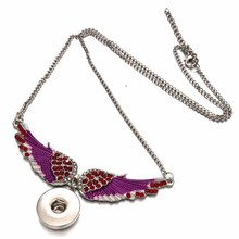 Interchangeable Crystal Wing Ginger 290 Snap Button Pendant Necklace Jewelry Fit 18mm Charm jewelry For Women Gift