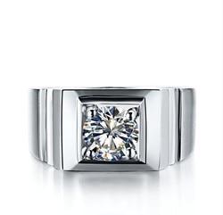 1 Carat czysta 18 K białe złoto mężczyzna pierścień prawdziwy diament męska obrączka ślubna Au750 złoty pierścień oświadczenie w porządku biżuteria dla chłopca