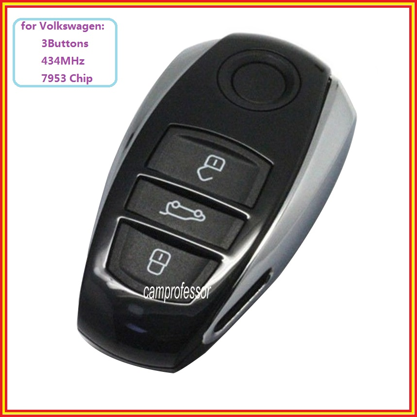 New Smart Remote Control Key Fob 3 Buttons 433MHz 7953 Chip for Volkswagen Touareg 2011 2012 2013 2014 With Logo