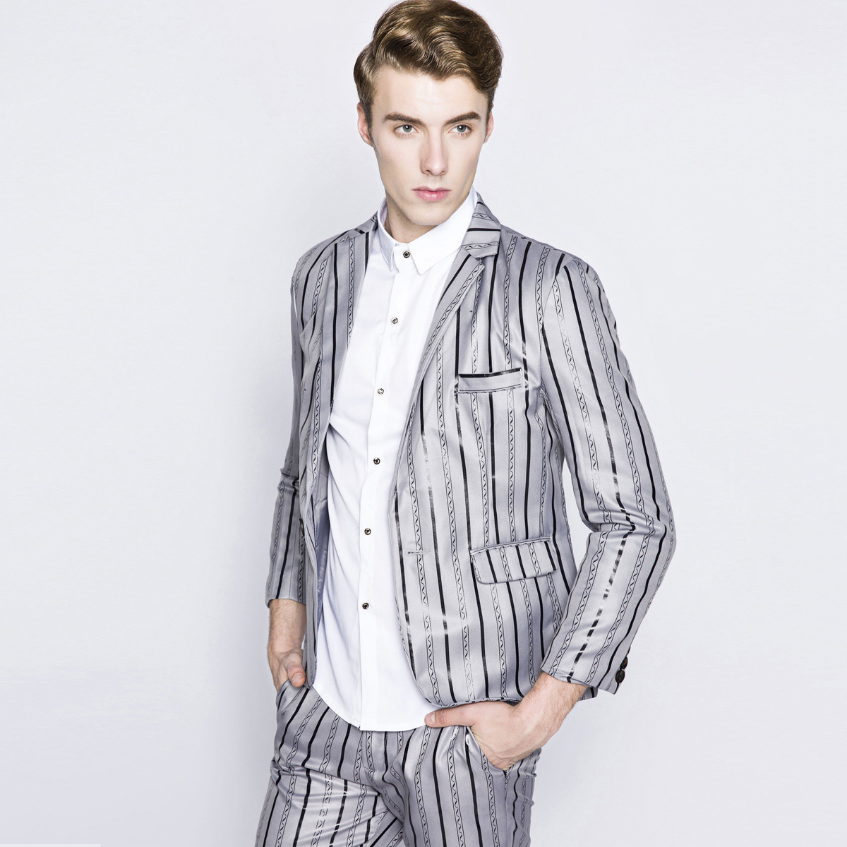 Mens Striped Suit Latest Coat Pant Designs Men 39 S High End Fashion Personality Men Slim Fit