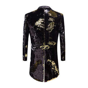 PYJTRL New Male Fashion Plus Size Gold Black Double-Color Sequins Tailcoat Stage Singers Wedding Grooms Tuxedo Blazer Coat Men