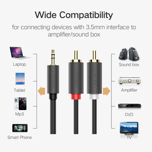 Image 2 - Ugreen RCA 3.5mm jack Cable 2 RCA Male to 3.5 mm Male Audio Cable 1M 2M 3M Aux Cable for Edifer Home Theater DVD Headphone PC