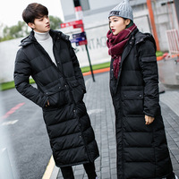 New fashion men and women lovers warm down jacket cotton coat long over the knee thick large size cotton coat