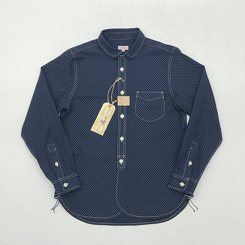 Bob Dong Wabash Dot Work Shirt Vintage Mens Fall Indigo Button-Down Casual Shirt
