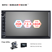 SMARTECH 2 Din Android 7.1 Auto Radio GPS Navigatie Autoradio Systeem Quad Core 2 GB RAM 16 GB ROM Ondersteuning Video Out DVR OBD DAB
