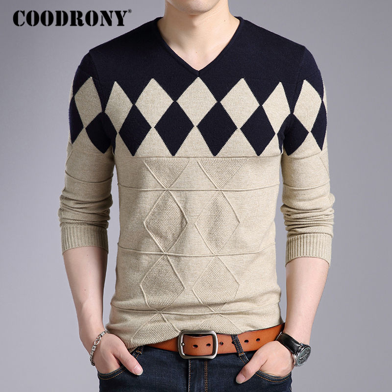 Image 4 - COODRONY Cashmere Wool Sweater Men 2019 Autumn Winter Slim Fit Pullovers Men Argyle Pattern V Neck Pull Homme Christmas Sweaters-in Pullovers from Men's Clothing