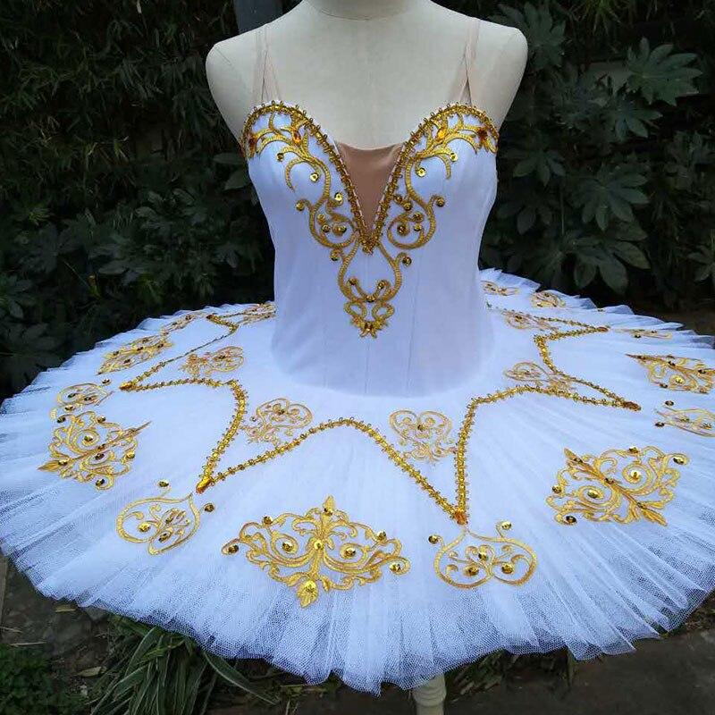 Stunning white pancake ballet tutu with gold applique decoration women & girl stage performance ballet costume tutu ballerina
