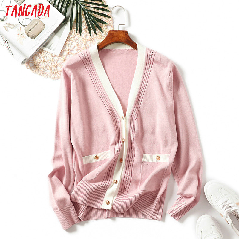 Tangada 2019 Autumn Winter Women Cardigan Sweater Jumper Pocket Casual Korean Style Pink Cardigan Feminino Knittde  AQX09