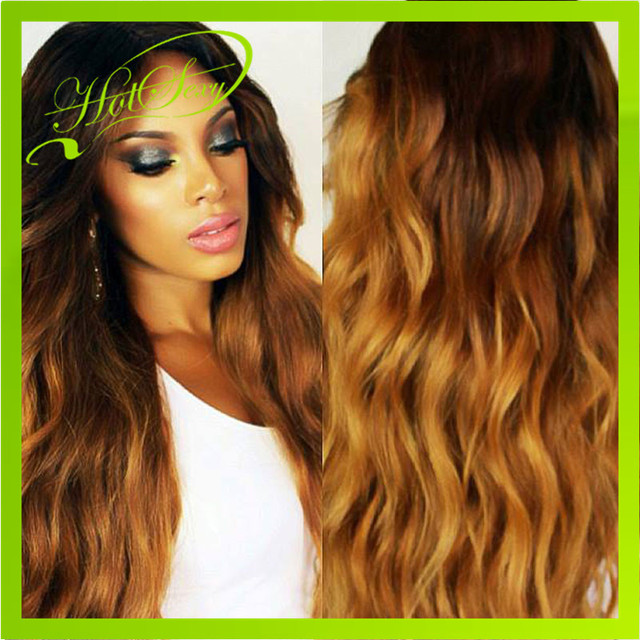 2015 Hot Selling Wigs Brazilian Human Hair Glueless Ombre Front Lace Wig Ombre Full Lace Wig with Free Shipping and Large Stock