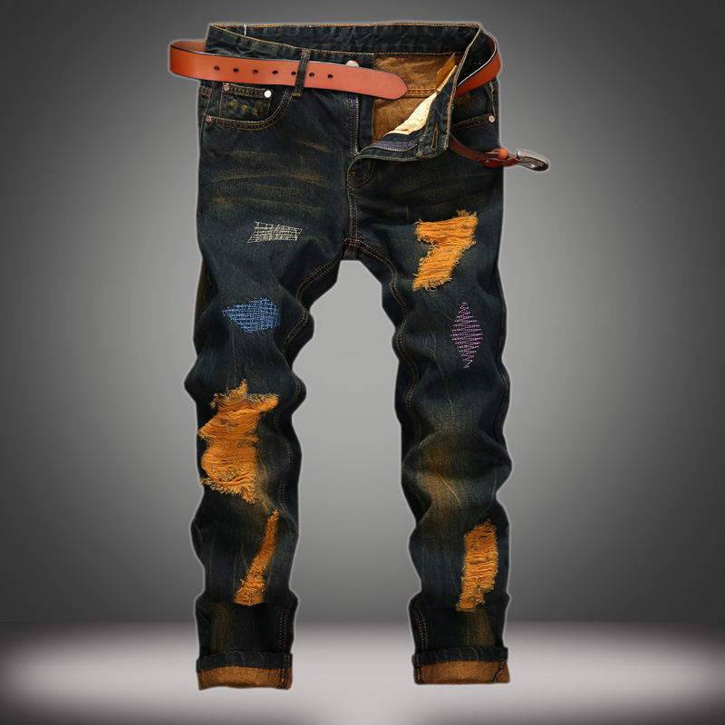 2016 male straight leg denim trousers fashion Ripped Jeans mens business jean pants black casual jeans men Retro Trousers