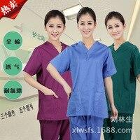 2017 Cotton Made Medical Uniforms Hospital Lab Coat Women Hospital Medical Scrub Clothes Uniform Breathable Work