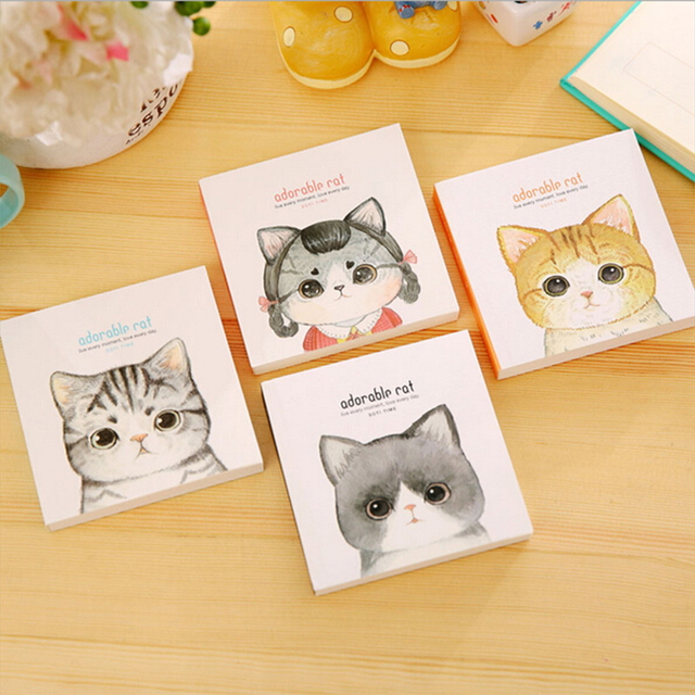 kawaii cat portable notebook cute square mini pocket planner diario