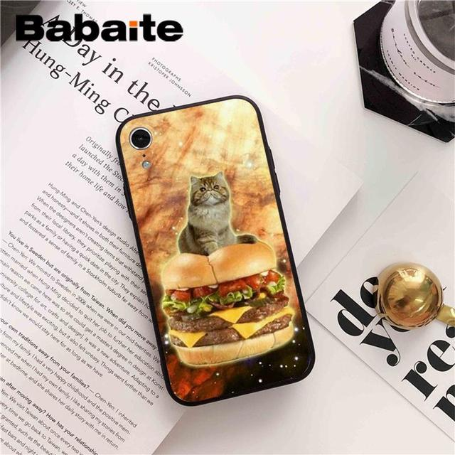 , Babaite Cat eating Pizza DIY Printing Drawing Phone Accessories Case for iPhone 6S 6plus 7 7plus 8 8Plus X Xs MAX 5 5S XR