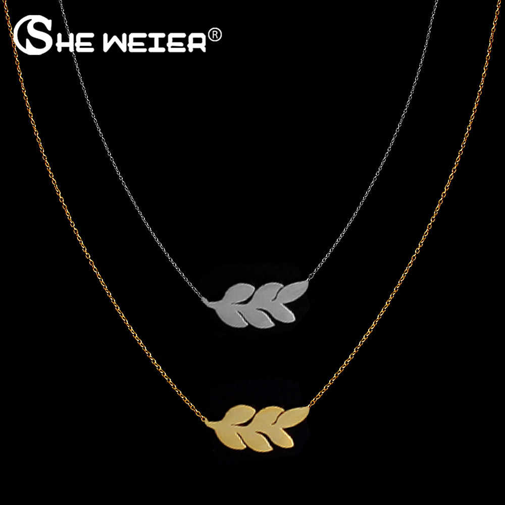 SHE WEIER stainless steel pendant necklace chain jewelry for women choker female best friends silver gold neckless leaf fashion