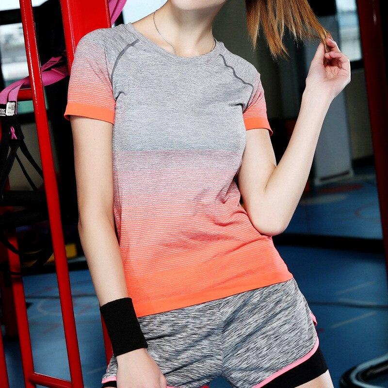 2017 da Donna Traspirante Quick Dry Sport Camicia, Asciutto Rapido elastico Yoga Aercbics Running Tops Esercizi Tee, top Jogging Palestra Tees
