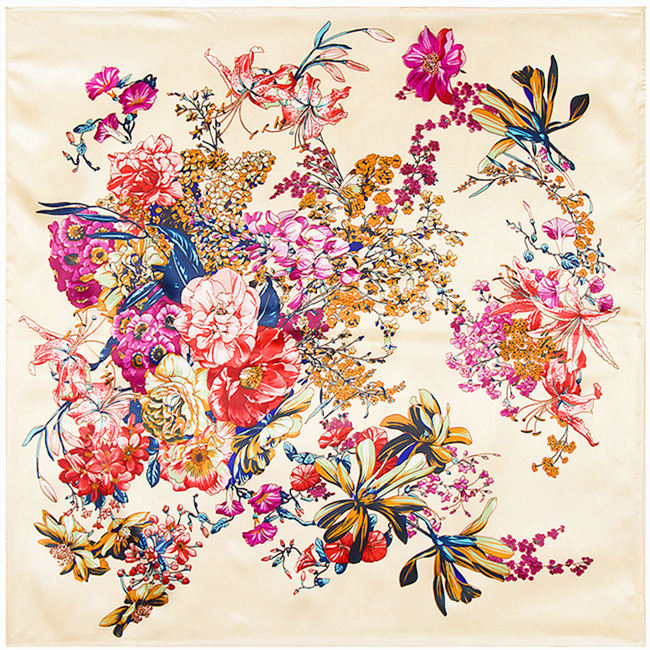 <font><b>90x90</b></font> boho Flower pattern print <font><b>silk</b></font> satin <font><b>scarves</b></font> for women Russian shawl Arab hijab head square <font><b>scarf</b></font> with Clothing A324 image