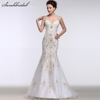 Sexy Illusion Back Mermaid Wedding Dresses Beaded Embroidery V Neck Bridal Gowns Robe De Mariage Real