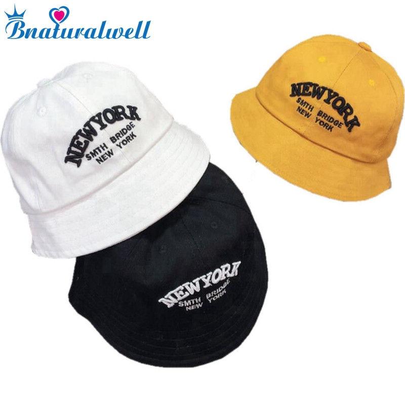 03ea56c4c8731 Bnaturalwell New Cotton Baby Summer Hat Children Panama Kids Letter Cap Sun  Bucket Hats Flat Bucket Hat For Baby Girl Boy H008