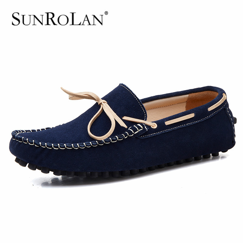 SUNROLAN 2017 Plus Size 12 13 Men Penny Loafers Suede Leather Bow Male Moccasins Boat Shoes Men Driving Suede Loafers Shoes 2017