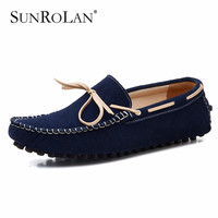 Men Loafers Suede Leather Bowtie Male Lazy Shoes Round Toe Cow Leather Solid Color Boat Shoes