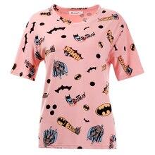 T Shirt Women 2017 Fashion Summer Women T shirt Tops Print Cartoon Batman Camisetas Femininas Tee Shirt Femme harajuku