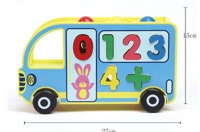 Jouet en bois frapper la balle bus numérique blocs en bois bébé jouet éducatif montessori en bois jouet cadeau pour enfants enfants
