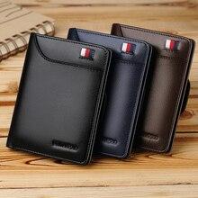 Williampolo carteira masculina de couro legítimo, nova carteira masculina compacta feita em couro legítimo, com dobra central e compartimento para cartões