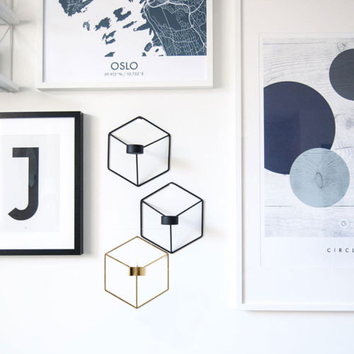 DIY Wall Mounted 3D Geometric Candlestick Tea Light Candle Holder Metal Candlestick Home Decor NEW 3