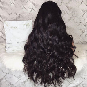 Image 5 - Bombshell Black Body Wave Synthetic Lace Front Wig Glueless Heat Resistant Fiber Hair Natural Hairline Free Part For Women Wigs