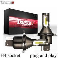 TXVSO8 2PCS LED H4 Car Headlight Bulbs Kit Flip COB Chips 26000Lm 6000K Led Headlight Bulb 55W/Bulb Automobiles Front Headlamp