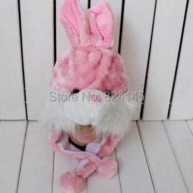 Beanie Hat Animal Cartoon Hat Women And Children's Hat Pink Rabbit Fur Cap For Women beanie white rabbit cartoon animal hat props cap child hat caps skullies