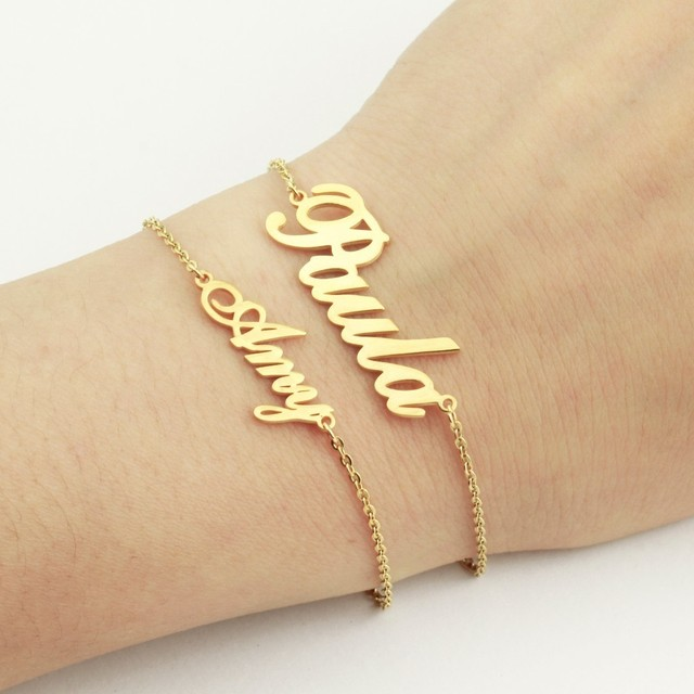 Personalized Graduation Gifts Custom Name Bracelet Stainless Steel Pulseras Rose Gold Boho Nameplate Femme Men