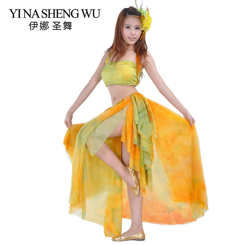 The New Tie Dyed Skirt Suit Belly Dance Practice Costumes Belly Dance Practice Performance Suit Top+skirt 2pcs Set 2 Colors