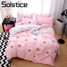 Solstice Home Textile Sakura Cherry Flower Girl Kid Bed Linens Set Pink Duvet Cover Sheet Pillowcase Teenage Female Bedding Suit(China)