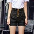 Whosale Высокое качество плюс размер на западе мода старинные черный высокой талией ковбой джинсовые шорты тонкий пакет бедра женские Джинсы D199