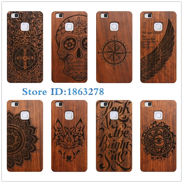 low priced 2063d 1ff0c US $7.59 5% OFF|Indian Compass Totem Wolf Retro Bamboo Wood Cover Case For  Huawei P9 Lite G9 Case 5.2 inch Carving Skull Phone Cover P9Lite-in Fitted  ...