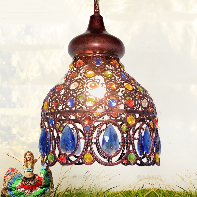 цена на Southeast Asia Thai pendant lamps color crystal Mediterranean Bohemian restaurant aisle lamps pendant lights ZA626 ZL53 YM