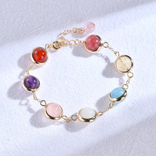 цена на Natural Strawberry Crystal Bracelet Female Beads Classic 14K Rose Gold Color Round Chain Bracelets for Women Diamante Pearl Gift