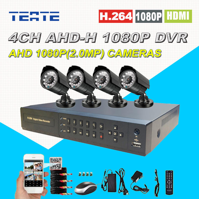 Home Safety HD AHD 4 channel 2.0MP CCTV System 4CH Full 1080P DVR 2500TVL 1080P Outdoor Security surveillance Camera Kit home security systm 1080p ahd cctv camera kit 4 channel ahd dvr 4pcs outdoor ir night 2 0mp full hd camera ahd surveillance kit