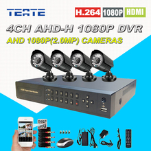 Home Safety HD AHD 4 channel 2.0MP CCTV System 4CH Full 1080P DVR 2500TVL 1080P Outdoor Security surveillance Camera Kit