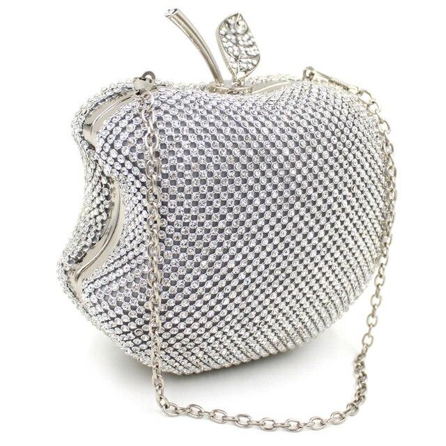 Роскошный Горный Хрусталь Серебро Золото Apple Кристалл Алмаза Вечер Сцепления Сумка Внутренний кристалл Алмаза вечерние сцепления сумка женская мода