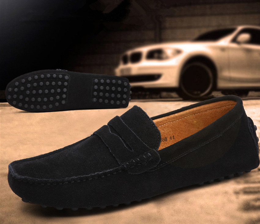 Moccasins Mens Loafers Genuine Leather Shoes Mens Flats Driving Shoes Rubber Sole Pebbles Driver Shoes