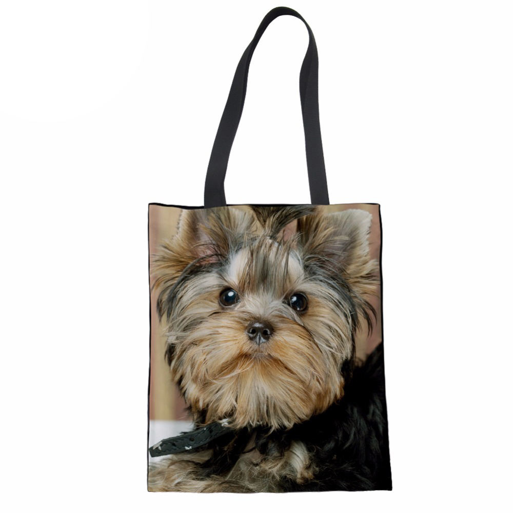 Women Coth Bag Casual Handbag Schnauzer Husky Pug Print Canvas Shopper Bag Teenager Girls Beach Bag Ladies Tote New